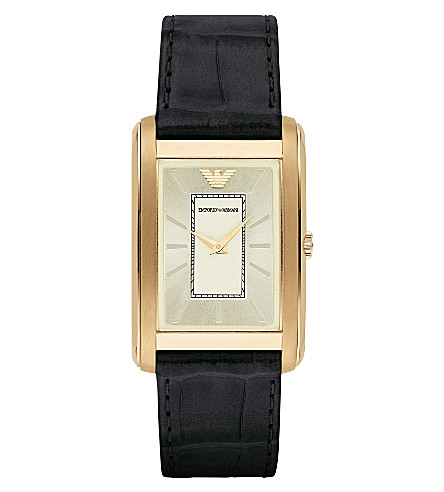 EMPORIO ARMANI AR1902 gold-plated and leather watch (Bk1+-+black+1