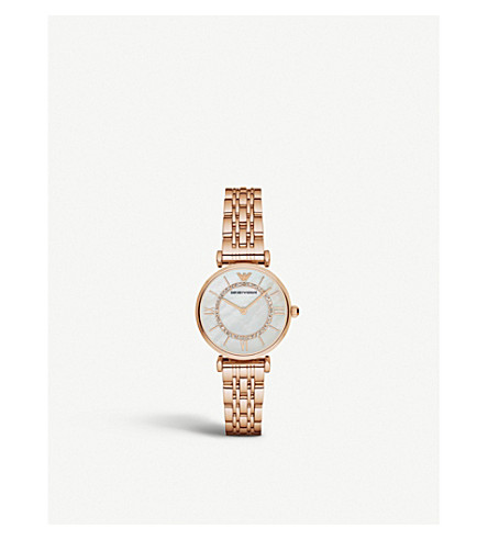 EMPORIO ARMANI AR1909 crystal-embellished rose-gold watch
