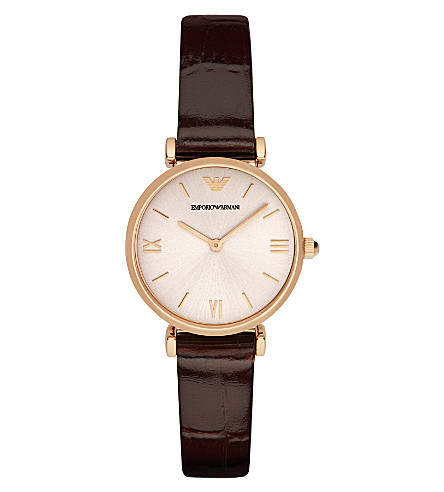 EMPORIO ARMANI AR1911 rose gold-plated stainless steel watch (Burgundy