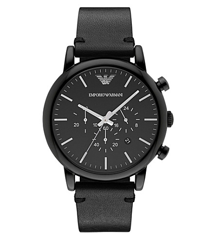 EMPORIO ARMANI AR1918 Dress stainless steel chronograph leather strap watch