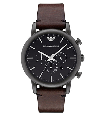EMPORIO ARMANI AR1919 Dress stainless steel chronograph leather strap watch