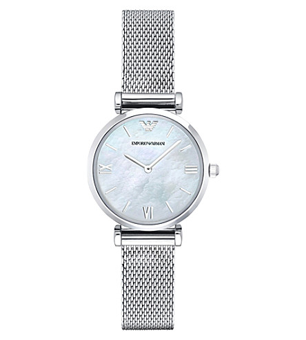 EMPORIO ARMANI ar1955 stainless steel and mother of pearl watch