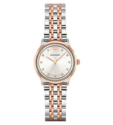 EMPORIO ARMANI AR1962 rose gold-plated stainless steel watch (Silver