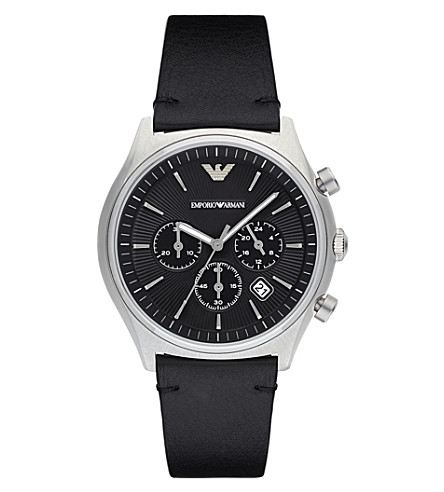 EMPORIO ARMANI Armani AR1975 stainless steel and leather chronograph watch