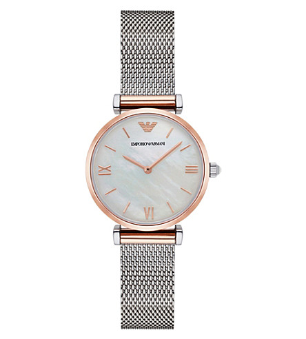 EMPORIO ARMANI AR2067 Classic stainless steel and rose-gold watch