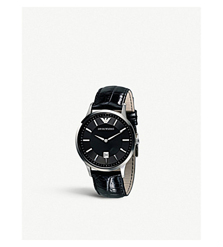 EMPORIO ARMANI AR2411 stainless steel and leather watch (Black