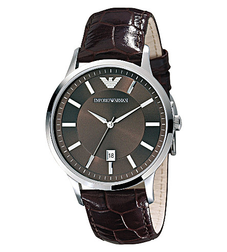 EMPORIO ARMANI AR2413 stainless steel and leather watch (Brown