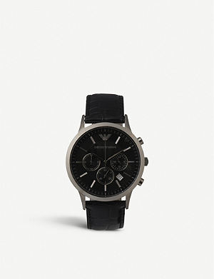EMPORIO ARMANI AR2447 steel and leather unisex watch