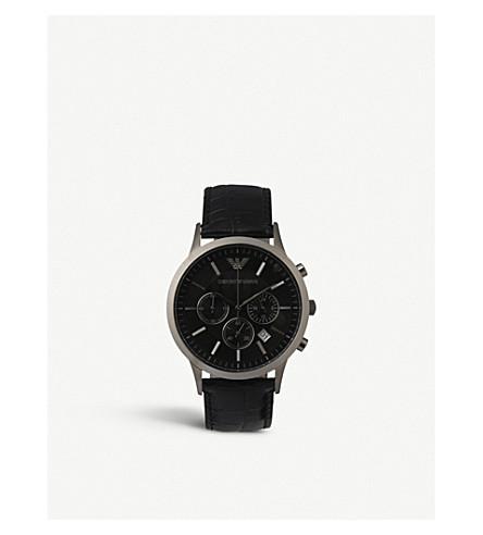 EMPORIO ARMANI 瑞士 AR2447 钢和皮革中性手表 (黑色