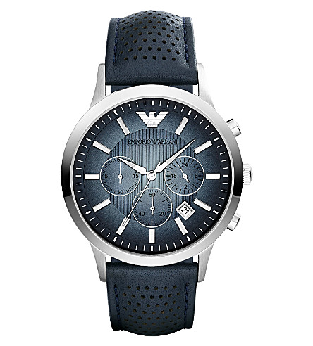 EMPORIO ARMANI AR2473 stainless steel leather strap watch (Blue