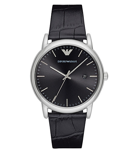 EMPORIO ARMANI AR2500 stainless steel and leather watch