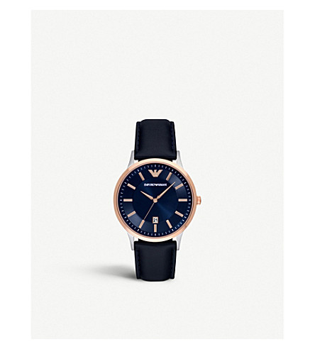 EMPORIO ARMANI AR2506 rose gold-plated and leather chronograph watch