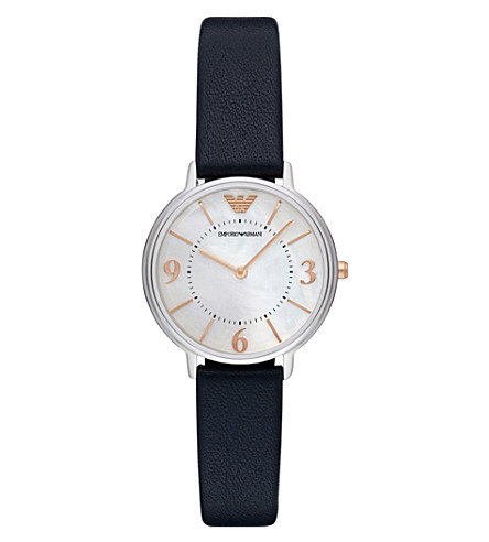 5e7cc1df362 EMPORIO ARMANI - AR2509 stainless steel and leather watch ...