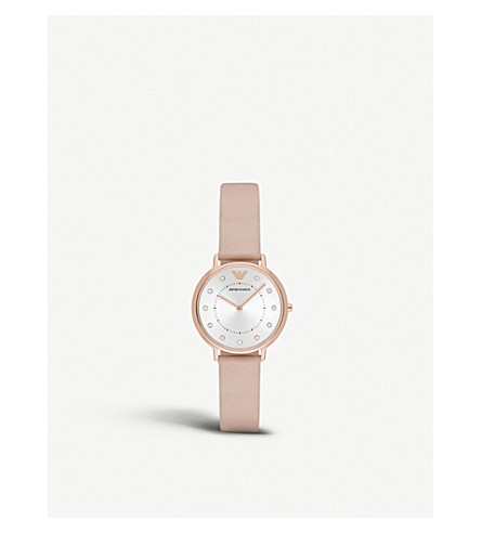EMPORIO ARMANI Pink leather strap watch