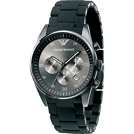 EMPORIO ARMANI AR5889 Stainless steel and silicone watch (Black