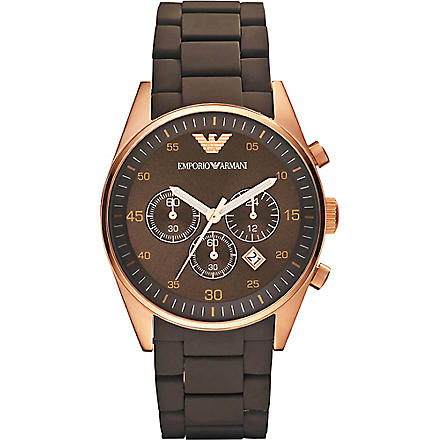 EMPORIO ARMANI AR5890 stainless steel and silicone unisex watch (Brown
