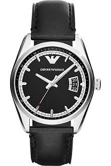 EMPORIO ARMANI Sportivo AR6014 leather strap watch