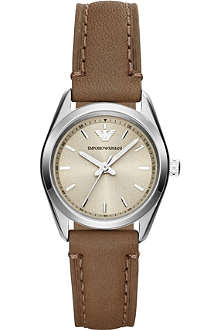 EMPORIO ARMANI AR6027 stainless steel and leather strap watch