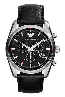 EMPORIO ARMANI AR6039 stainless steel leather strap watch