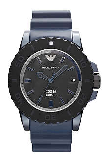 EMPORIO ARMANI AR6100 steel and rubber sport watch