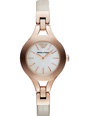 EMPORIO ARMANI AR7354 Rose gold-plated metal and leather watch