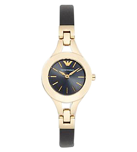EMPORIO ARMANI AR7405 matte leather and gold-toned watch (Black