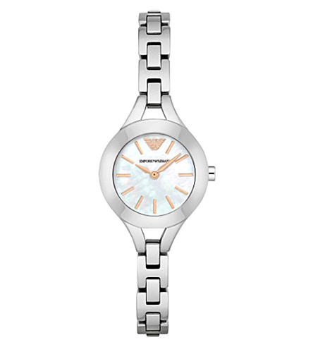 EMPORIO ARMANI AR7425 stainless steel and mother-of-pearl watch (Mother-of-pearl