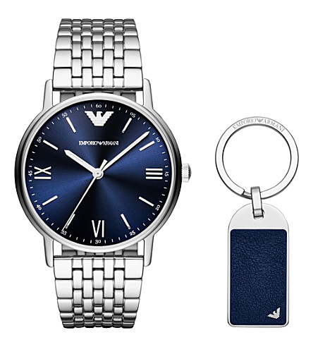 EMPORIO ARMANI AR80010 stainless steel bracelet strap quartz watch gift set