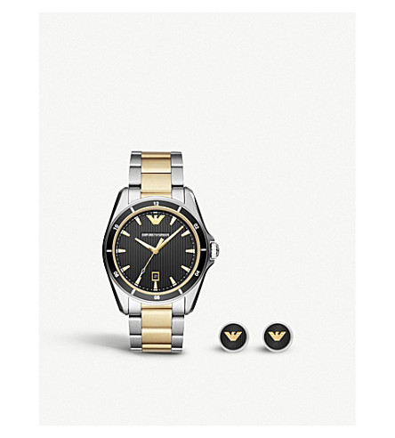 EMPORIO ARMANI AR80017 two tone stainless steel quartz automatic watch and cufflinks gift set