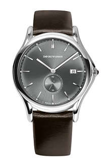 EMPORIO ARMANI SWISS ARS1000 stainless steel and brown leather watch