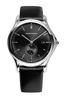 EMPORIO ARMANI SWISS ARS1001 stainless steel and black leather watch