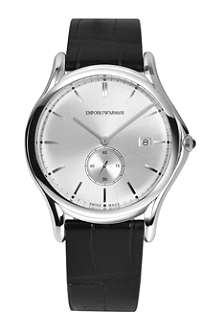 EMPORIO ARMANI SWISS ARS1002 stainless steel and alligator-skin watch