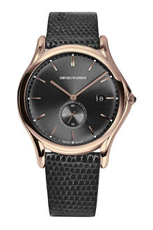 EMPORIO ARMANI SWISS ARS1003 gold-tone and grey leather watch