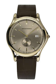 EMPORIO ARMANI SWISS ARS1004 gold-tone and brown leather watch