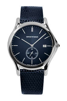 EMPORIO ARMANI SWISS ARS1010 stainless steel and leather watch