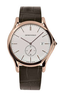 EMPORIO ARMANI SWISS ARS1011 rose-gold plated and leather watch