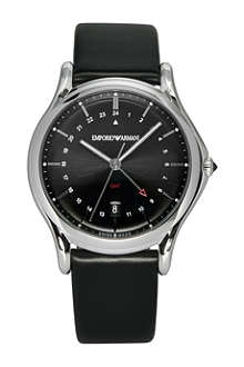 EMPORIO ARMANI SWISS ARS1100 GMT stainless steel and leather watch