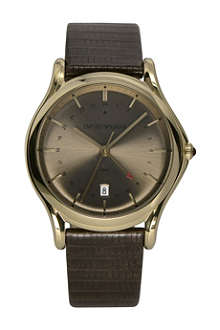 EMPORIO ARMANI SWISS ARS1103 GMT bronze-toned plated and leather watch