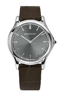 EMPORIO ARMANI SWISS ARS2000 stainless steel and leather watch