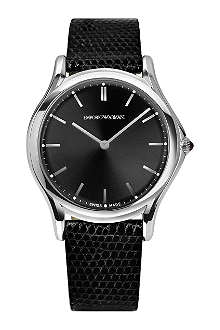 EMPORIO ARMANI SWISS ARS2001 stainless steel and leather watch