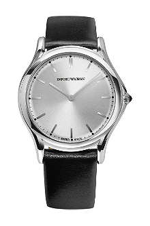 EMPORIO ARMANI SWISS ARS2002 stainless steel and leather watch