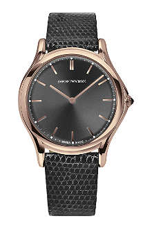 EMPORIO ARMANI SWISS ARS2003 rose-gold plated and leather watch