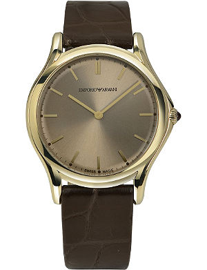 EMPORIO ARMANI SWISS ARS2004 gold-toned plated and leather watch