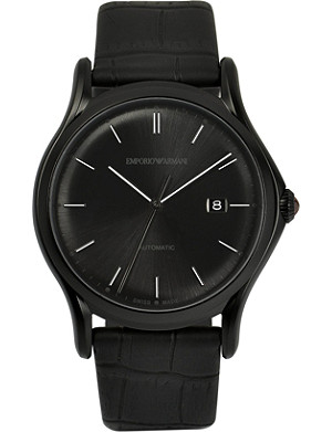 EMPORIO ARMANI SWISS ARS3008 black-plated and alligator watch