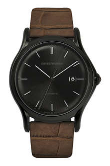 EMPORIO ARMANI SWISS ARS3010 black-plated and alligator watch