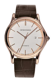 EMPORIO ARMANI SWISS ARS3012 rose gold-toned plated and alligator watch