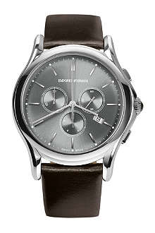 EMPORIO ARMANI SWISS ARS4000 stainless steel and leather watch