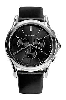 EMPORIO ARMANI SWISS ARS4001 stainless steel and leather watch