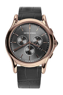 EMPORIO ARMANI SWISS ARS4003 rose gold-toned plated and alligator watch