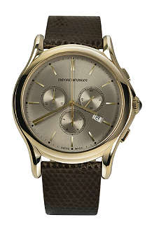 EMPORIO ARMANI SWISS ARS4004 gold-toned plated and lizard watch